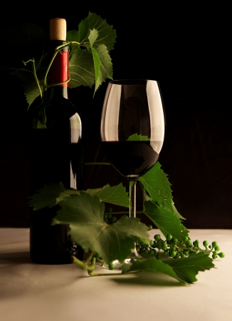 contrasting: Still life with bottle of wine and a glass in contrasting light