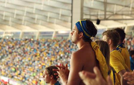 olympic stadium: Ukraine, Kyiv, Olympic stadium 19.06.2012:  Sweden football fans on match Sweden- France, Group D