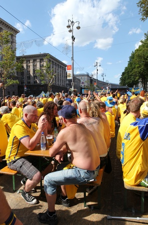 Ukraine, Kyiv, Khreshchatyk, 19.06.2012: fan zone, Sweden corner before start match Sweden France, Group D