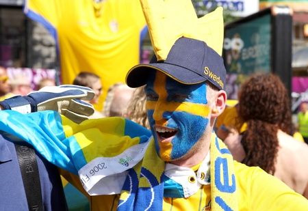 Ukraine, Kyiv, Khreshchatyk, 19.06.2012: fan zone, Sweden football fan before start match Sweden France, Group D
