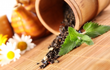Closeup image of spilled tea and fresh mint leaf on bamboo cover photo