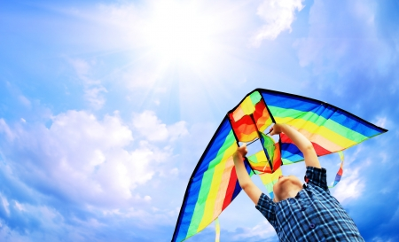 freedom leisure activity: Happy little boy flies a kite in the sunny sky