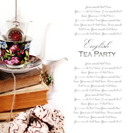 teacup: English tea party theme background with pocket wath and books Stock Photo