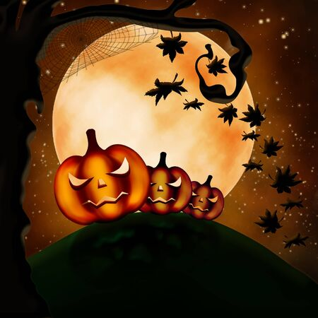 Halloween illustration with three terrible pumpkins and autumn leaves illustration