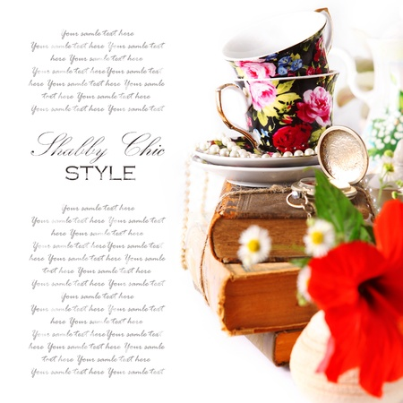 english food: English tea party background in shabby style