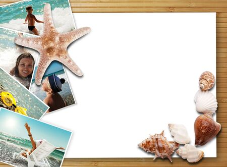 Still life with sea shells, summer photos and white card photo