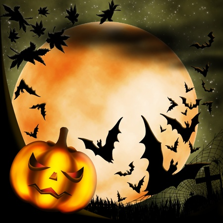 Halloween illustration with terrible pumpkin, moon and bats illustration