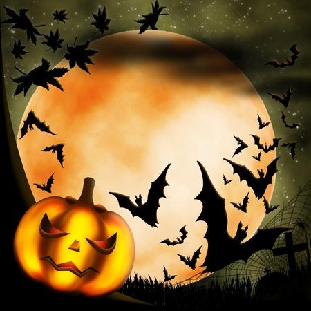 Halloween illustration with terrible pumpkin, moon and bats illustration