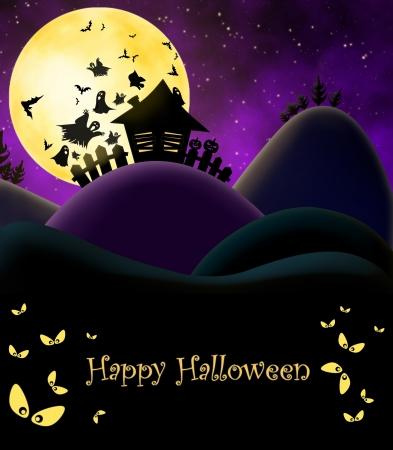 halloween castle: Illustration for Halloween - Haunted House