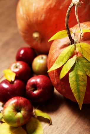 Pumpkin with twig of yellow leaves and apples on the table Stock Photo - 15553697