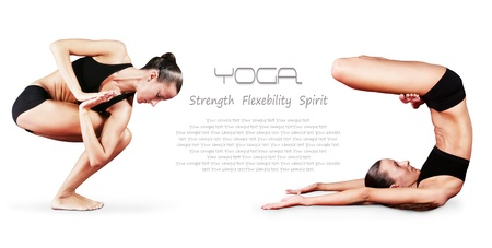asana: Yoga background. Girl doing yoga poses - twisted chair pose  and standing on shoulders with legs lotus position