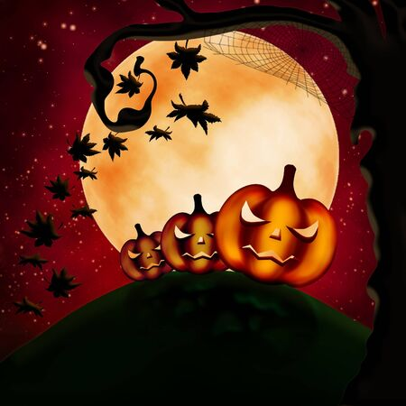 terribly: Halloween illustration with three terrible pumpkins and autumn leaves