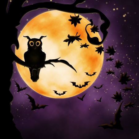 terribly: Halloween illustration with owl, bats  and autumn leaves Stock Photo