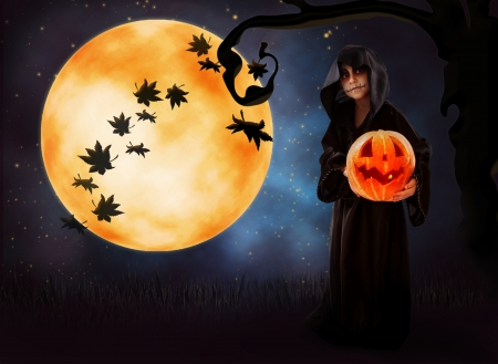 scary face: Halloween background with little boy in zombie fancy-dress and pumpkin head Stock Photo
