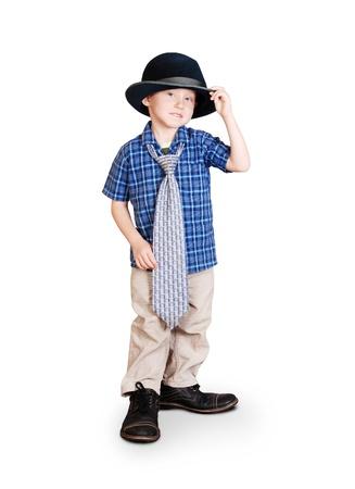 Little boy in father's shoes; tie and hat Stock Photo - 15919947