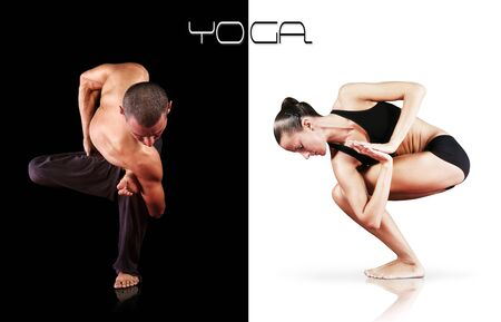 Yoga concept image - man and woman doing yoga exercises photo