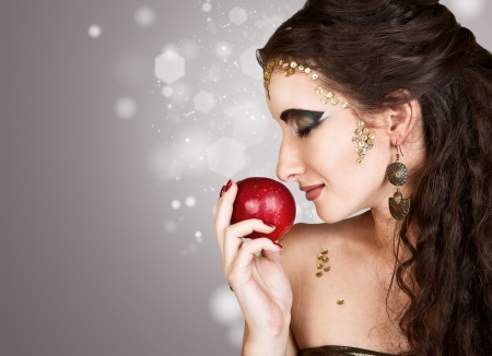 Beautiful girl portrait with fashion holiday thematic makeup Snake Medusa Stock Photo - 16545581