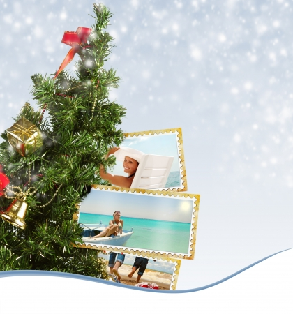 christmas memories: Snow background with Christmas Tree and exotic vacation postcard