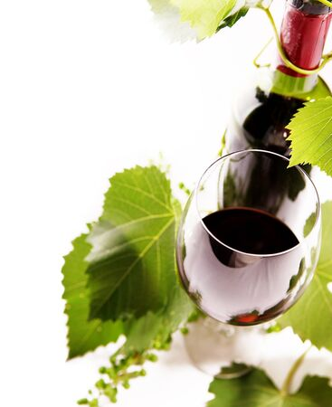 red wine bottle: White background with goblet, bottle and vine