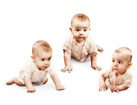 Three images crawling little baby girl isolated on white Stock Photo - 17605775