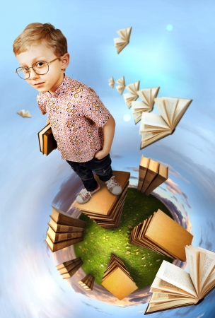 school library: Education concept image. Clever boy standing on stack of books at the green planet