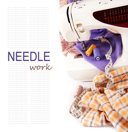 Background with sewing machine and colored fabric photo