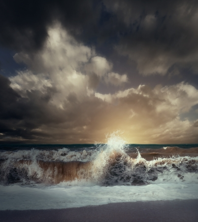 storm background: Wave splash at the stormy sea landscape