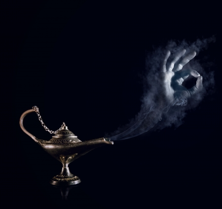 acceptance: All will be done, my lord  Magic Aladdin lamp with smoky genie hand