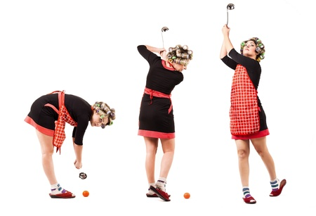 Comic scene - housewife in golf player pose with soup ladle photo