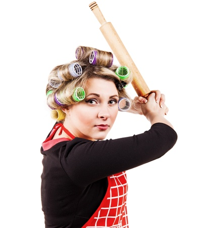 crazy woman: Comic scene - housewife in baseball batter player pose