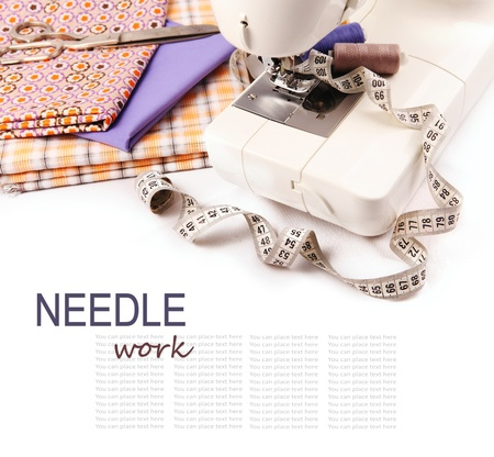 sartorial: Needle work hobby background with sewing machine and tools