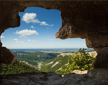 Mangup Kale valley landscape from the cave window photo