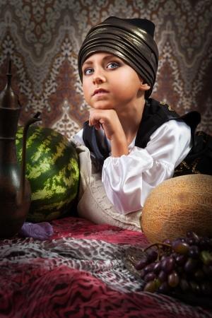 Little prince eastern fairytale closeup portrait photo