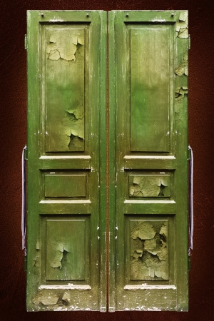 Old doors with cracky paint photo