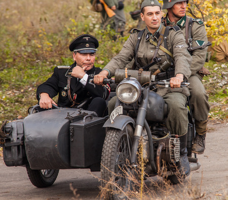 DNIPRODZERZHYNSK, UKRAINE - OCTOBER 26   Member Historical reenactment in Nazi Germany uniform on October 26,2013 in Dniprodzerzhynsk, Ukraine  Dniprodzerzhynsk Liberation Day 2013