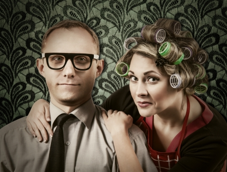 henpecked: Funny family portrait - henpecked husband with wife