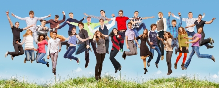Happy teenagers friends jumping together in different poses photo