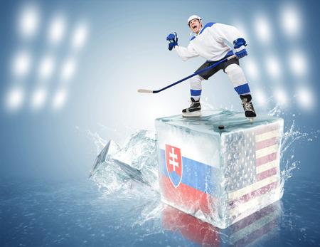 spunky: Slovakia - USA game  Spunky hockey player on ice cube Stock Photo