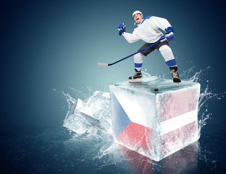 Spunky hockey player on ice cube of Czech republic - Latvia game photo