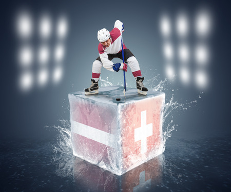 Latvia - Switzerland game  Face-off player on the ice cube