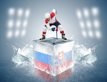 Face-off player on the ice cube of Russia - Slovakia game photo
