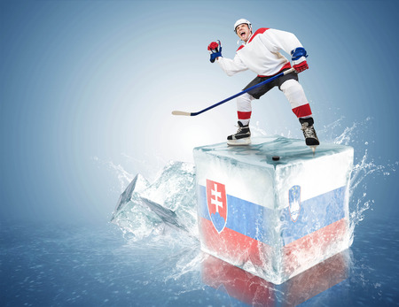 Spunky hockey player on ice cube of Slovakia - Slovenia game photo