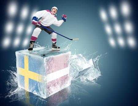 spunky: Spunky hockey player on ice cube Sweden - Latvia game