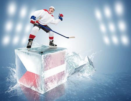 spunky: Spunky hockey player on ice cube Czech Republic - Latvia game