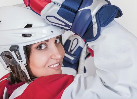female portrait: Hermoso retrato de la moda jugadora de hockey sobre hielo