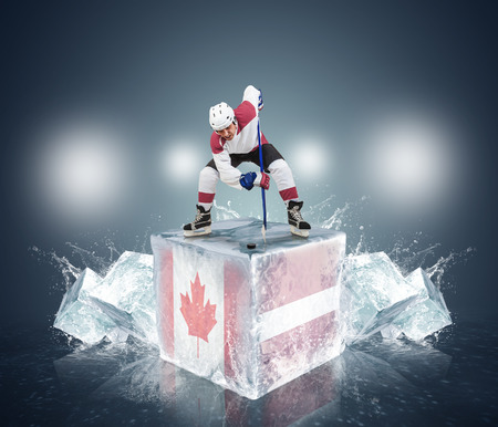 Face-off player on the ice cube   Canada vs Latvia QuaterFinal game photo