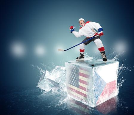 spunky: USA vs Czech Republic  QuaterFinal game  Spunky hockey player on ice cube  Stock Photo