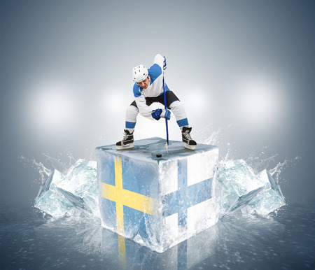 finland: Play off game Sweden vs Finland Stock Photo