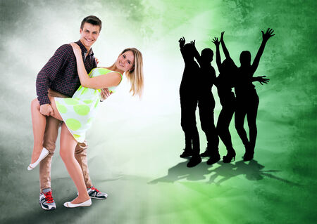 We love to dance all time  Dancing teen couple on bright grunge background photo