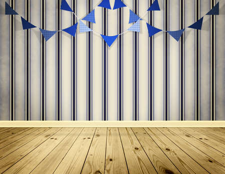 festoon: Light blue background with pennants festoon in sea style